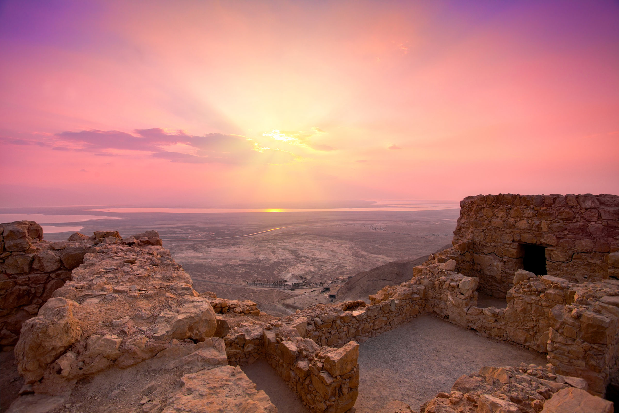faith based trave to Israel Masada Sunrise Over Fortress