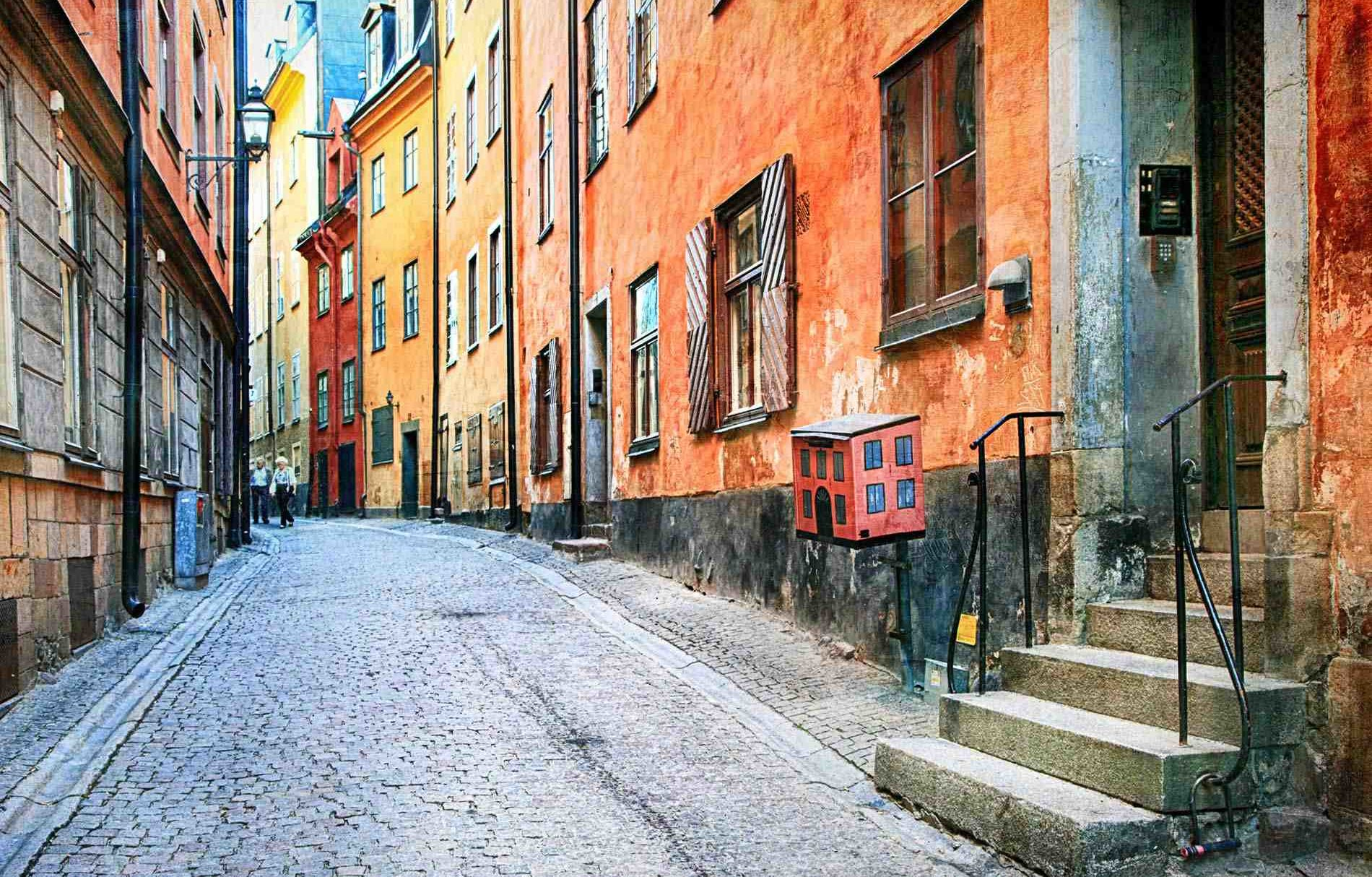 Sweden Stockholm Colorful Streets Orange W PP