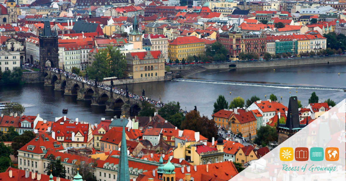 Prague and it's red roofs, Czech Republic.