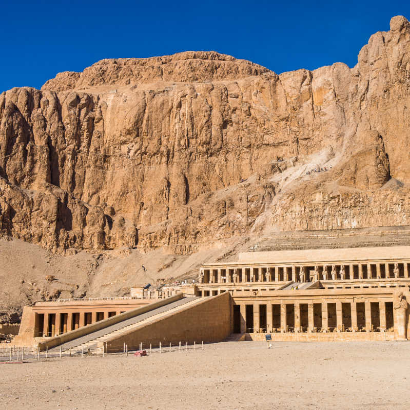 Part of the Mortuary temple of the Queen Hatshepsut (Dayr el-Bahari or Dayr el-Bahri), Western Bank of the Nile