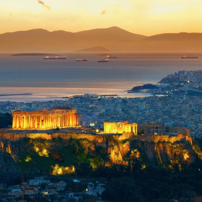 Greece Athens Acropolis Sunset Panorama