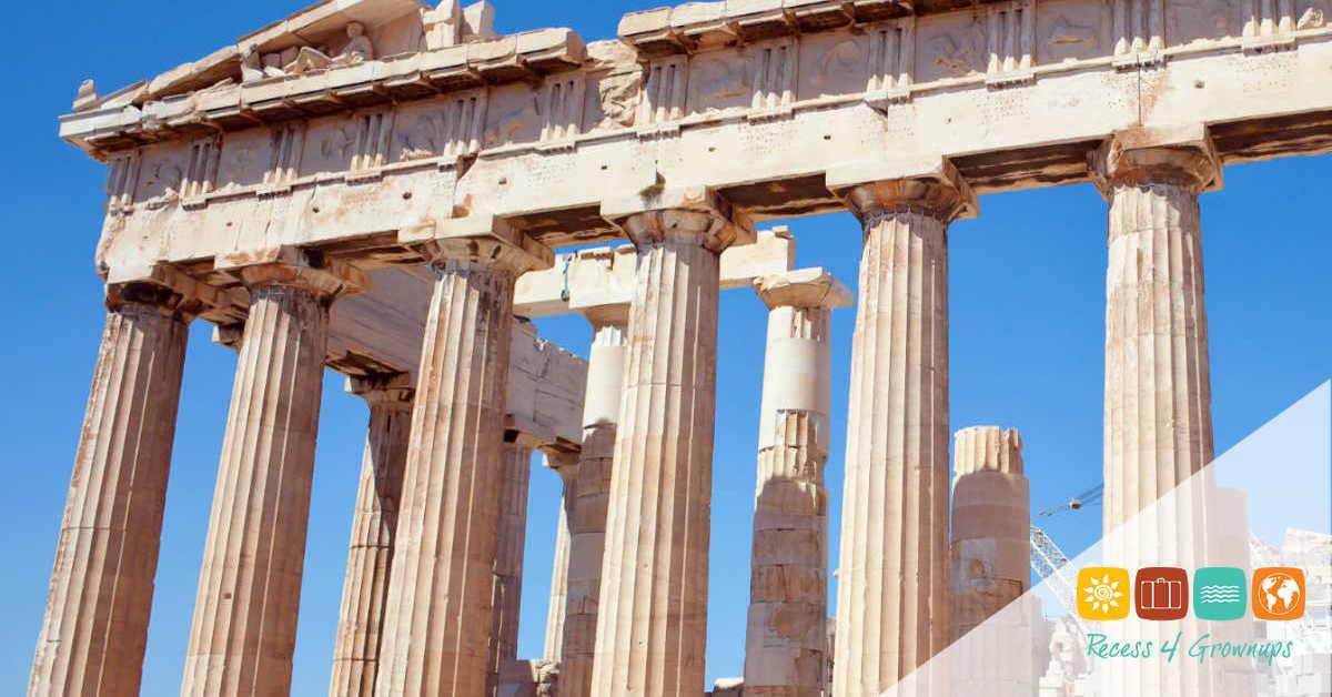 Facade of the Parthenon temple on the Athenian Acropolis, Greece