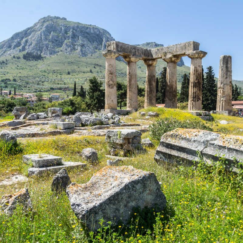 Greece Corinth Ruins Temple Apollo