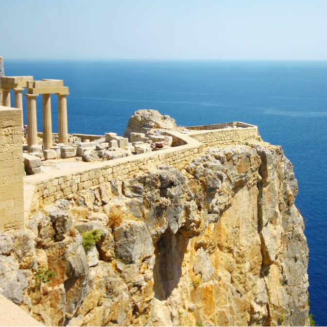 Greece Rhodes Lindos Old Castle Overlooking Sea