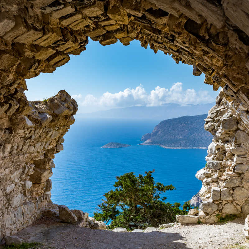 Greece Rhodes Monolithos Castle Church Ruins