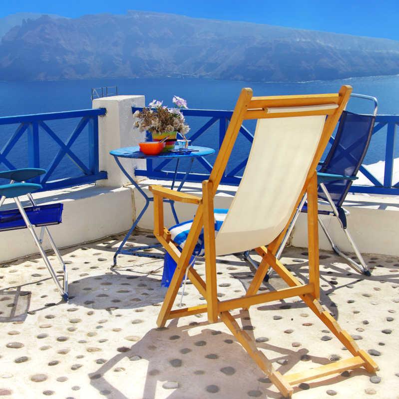 Greece Santorini Chair Overlooking Water