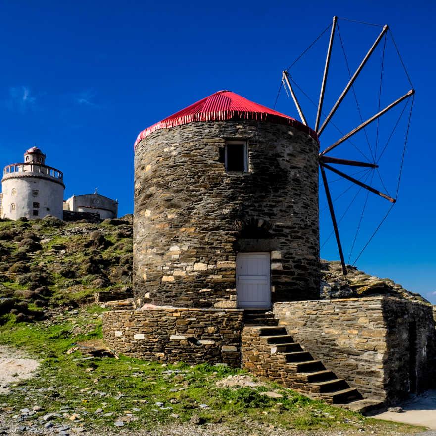 Greece Tinos Cyclades Lighthouse Windmill