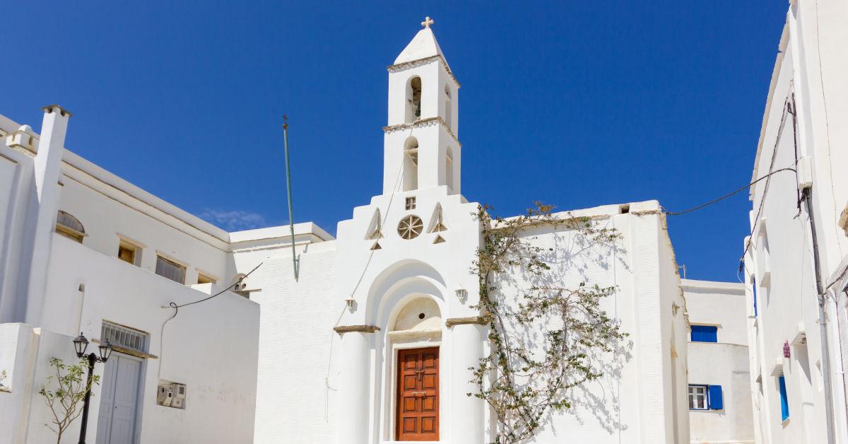 Greece Tinos Traditional White Church