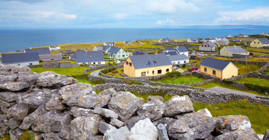 Panoramic landscape of Inisheer Island, part of Aran Islands, Ireland.