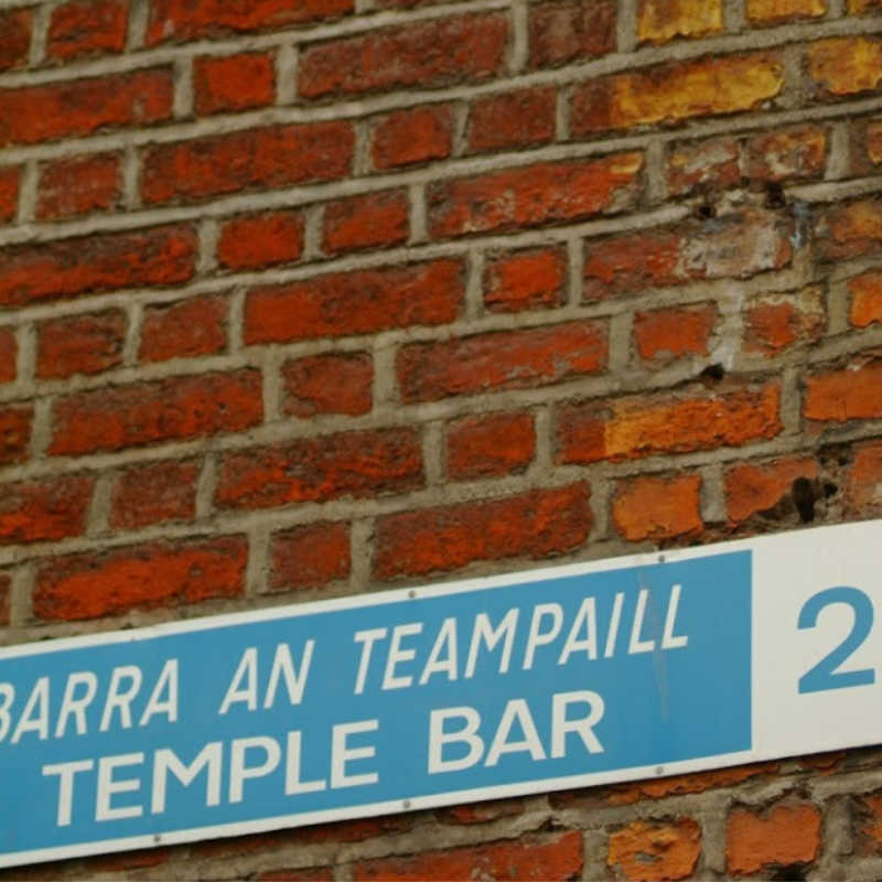Temple Bar Street Sign and the Guinness Is Good For You poster with pelican, Temple Bar