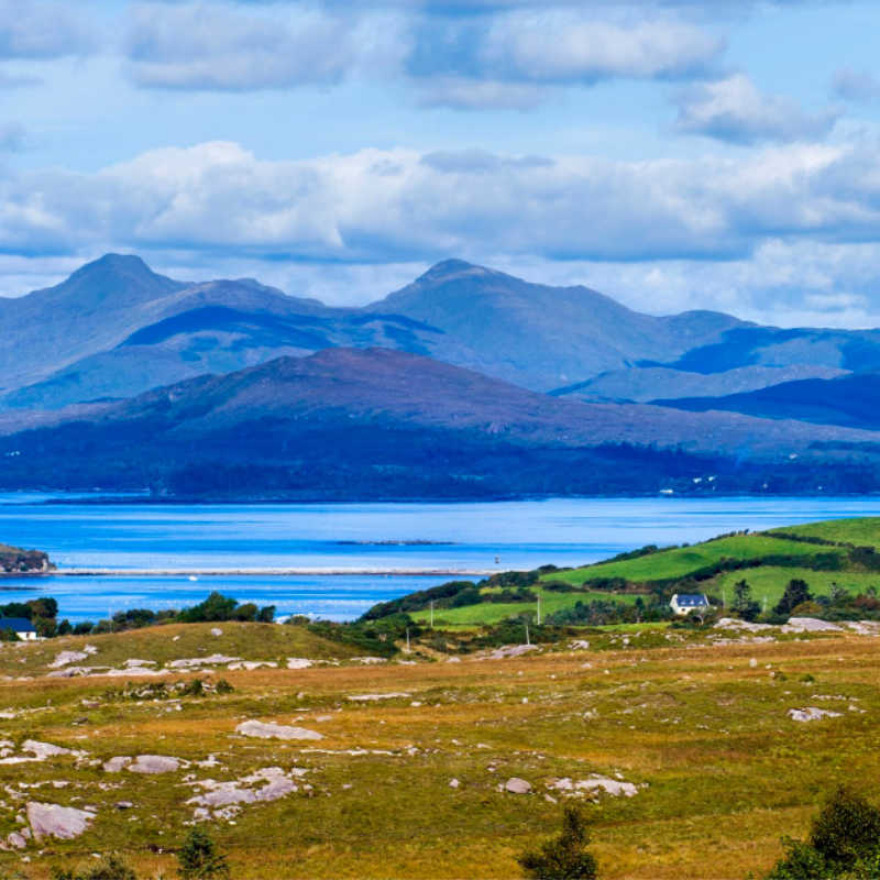 Looking over Kenmere River towards Ring of Kerry, Macgillycuddys Reeks, Beara, Co. Kerry