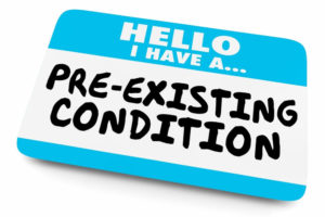 Hello I Have a Pre-Existing Condition Name Tag 3d Illustration