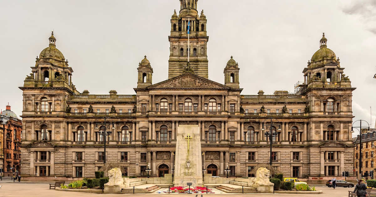 The Cenotaph war memorial in front of the City Chambers in George Square, Glasgow, Scotland