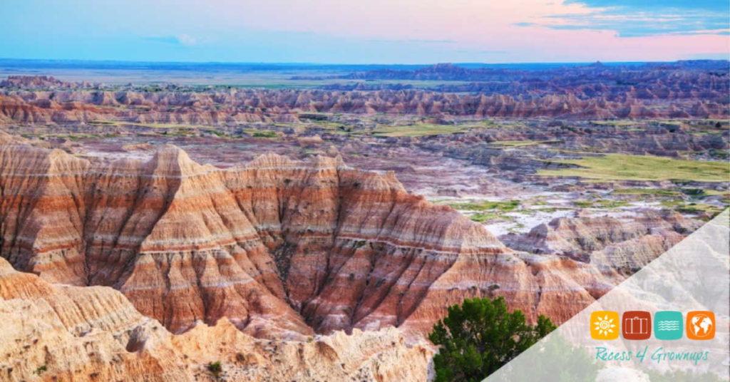 Scenic view at Badlands National Park, South Dakota, USA at sunset