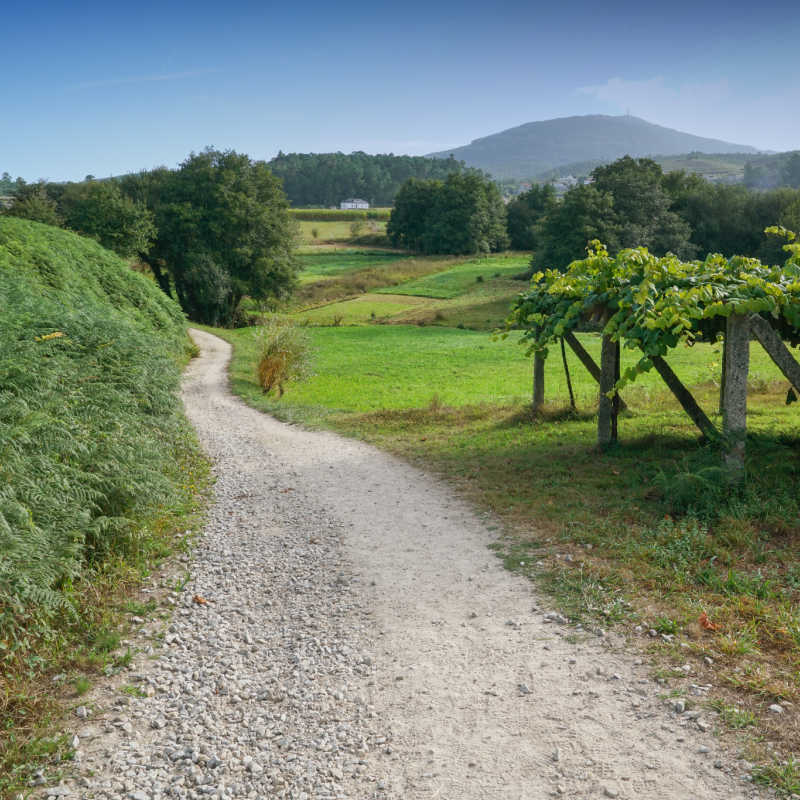 Camino de Santiago trail through the landscape close to Caldas de Reis, Galicia, Spain