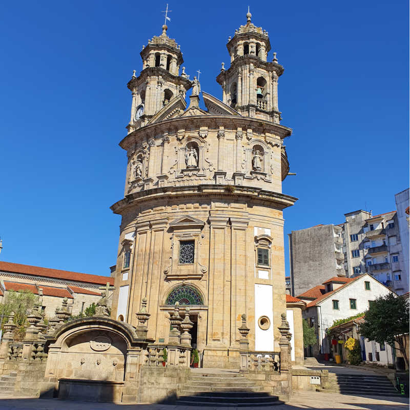 Pilgrims church and Pontevedra city square against blue sky, Spain