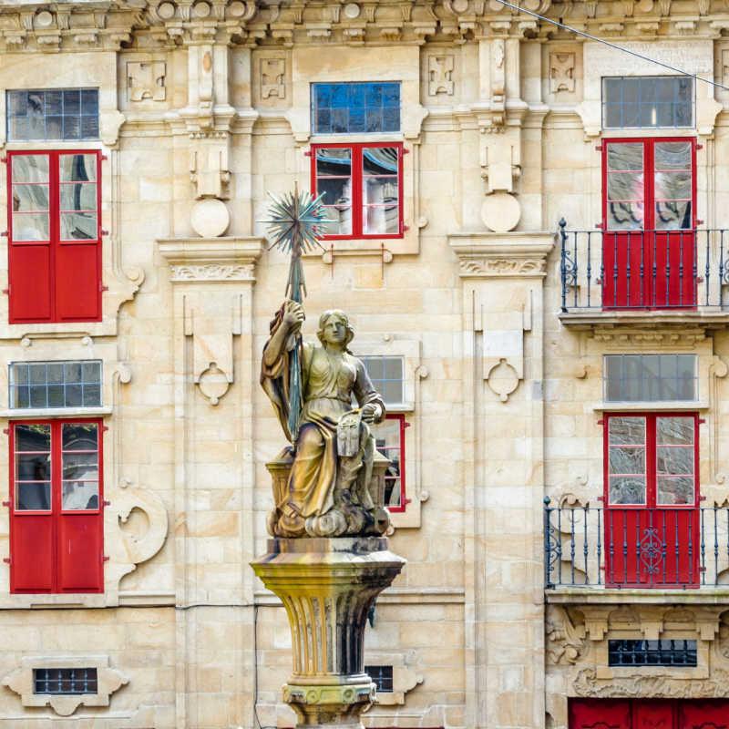 Fountain and statue in Santiago de Compostela, Galicia, northern Spain