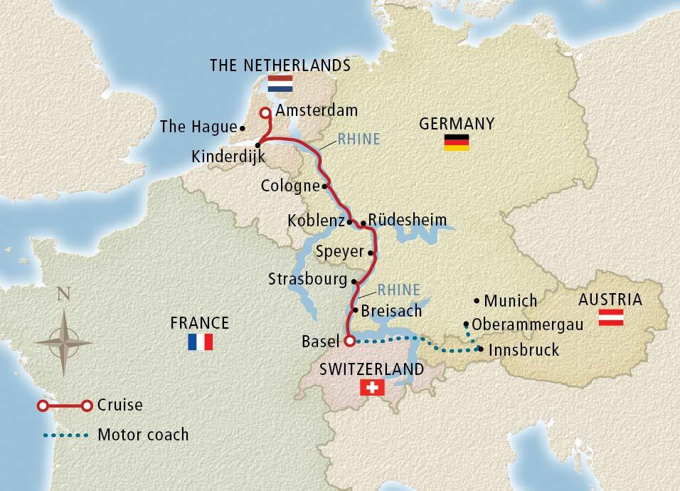 Viking-2022 Amsterdam to Oberammergau map-Vkg