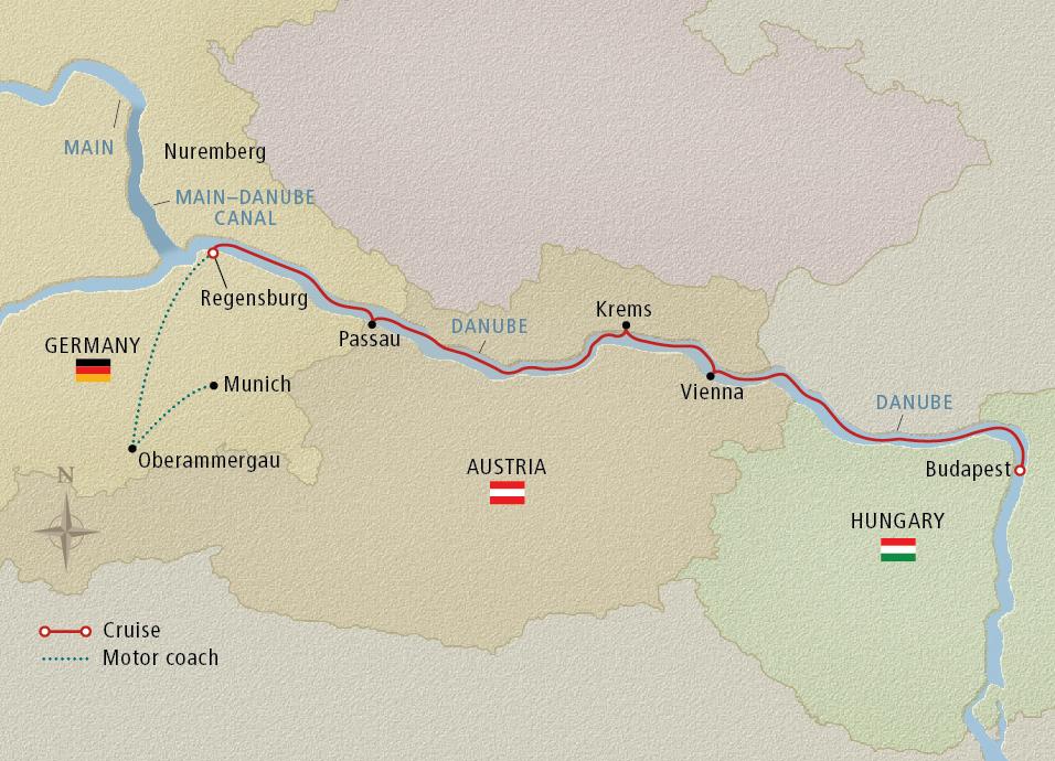 Viking 2022 Munich to Budapest map